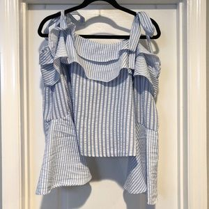 Boohoo white blue stripe tie ruffle sleeve blouse
